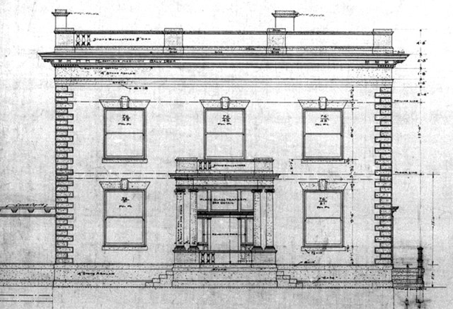 Architect Theodore A. Leisen's original drawing for the Water Company Headquarters. (Courtesy Louisville Water Company)