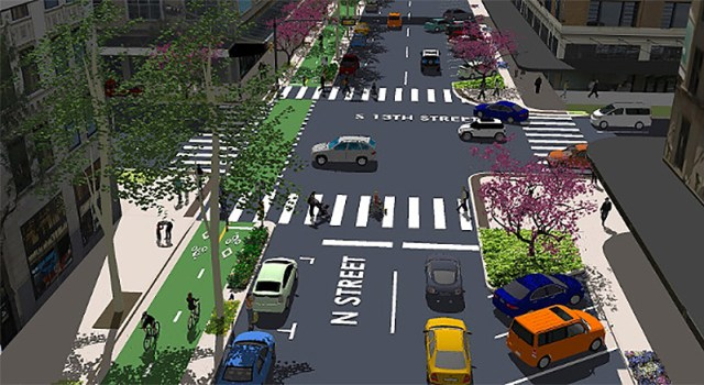 Protected car lanes will open soon on N Street in Lincoln, Nebraska. (Courtesy PeopleForBikes)