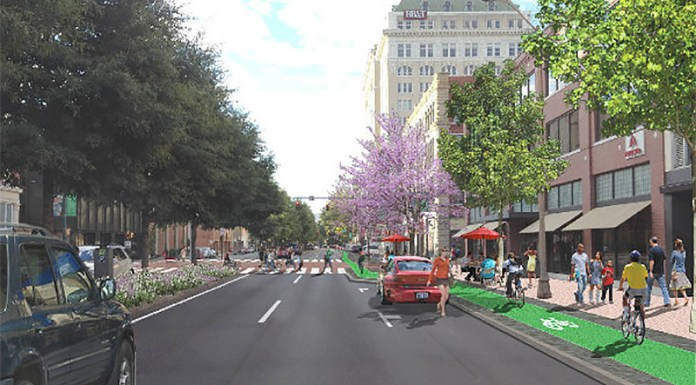 A proposed protected car lane on Board Street in Chattanooga, Tennessee. (Courtesy PeopleForBikes)