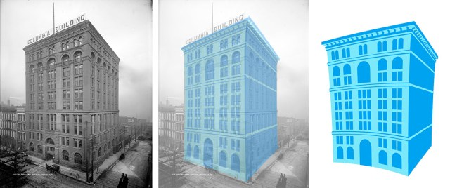 Although unintentional, we can't help but see a connection to the old Columbia Building. (Courtesy UL Photo Archives; Main Street Association; Montage by Broken Sidewalk)