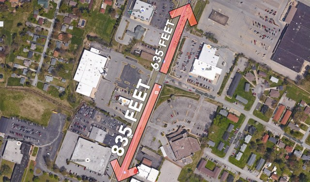 Distance to the nearest crosswalk from intersection. (Courtesy Google; Montage by Broken Sidewalk)