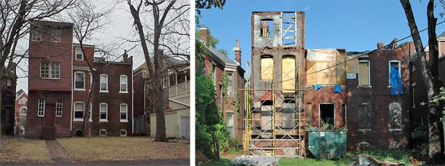 The back of the Dillon House before and after the fire. (Courtesy Victorian Louisville)