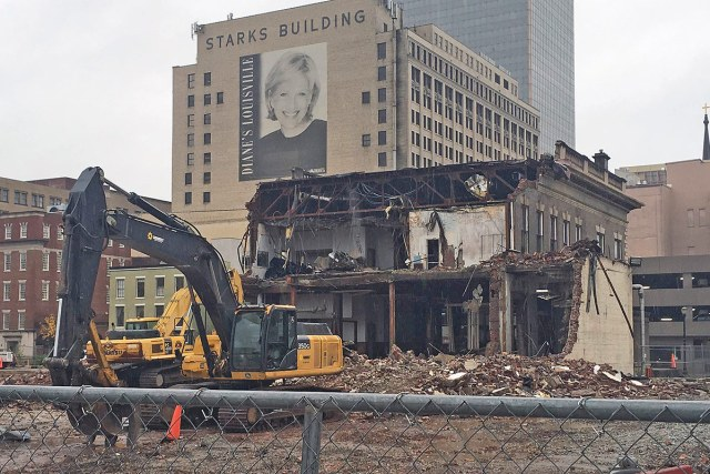 Demolition on the Water Company Building this week. (Rob Foellinger)
