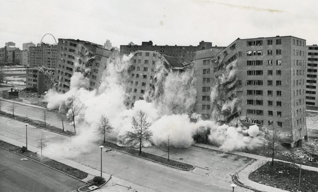 The demolition of the Pruitt-Igoe complex in April 1972. (Courtesy HUD)
