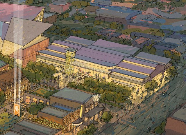 The once-proposed Creation Gardens center on the same corner. (Courtesy Village Solutions)