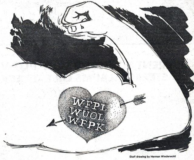 A drawing by Herman Wiederwohl that appeared in The Louisville Times on October 8, 1977. (Courtesy WFPL)