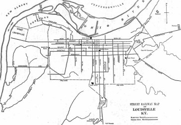 A map of Louisville's trolley system in 1891.