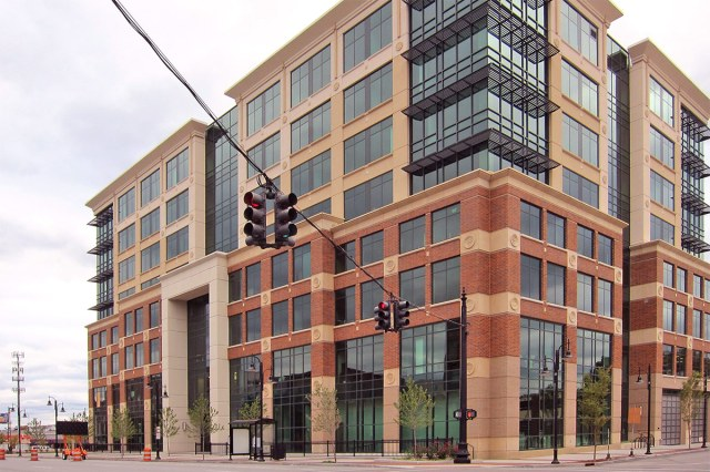 The eight-story Atria Support Center at The Nucleus. (Branden Klayko / Broken Sidewalk)