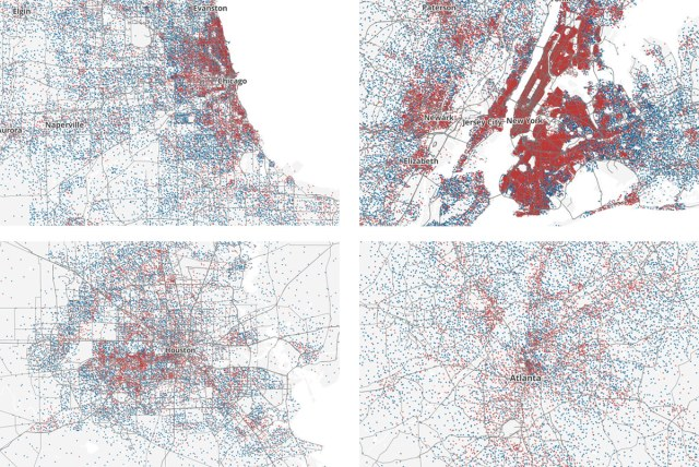 Clockwise from top left: Chicago, New York City, Atlanta, and Houston. (Courtesy Ken Schwencke)