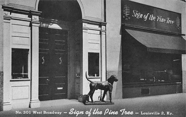 A postcard view of the Sign of the Pine Tree in the Fincastle Building. (Credit Unknown)