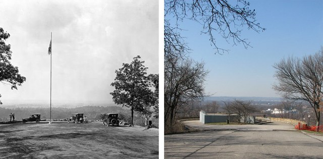 The lookout in Iroquois Park in 1921 and again in 2008 before renovations began. (Courtesy UL Archives; Broken Sidewalk)