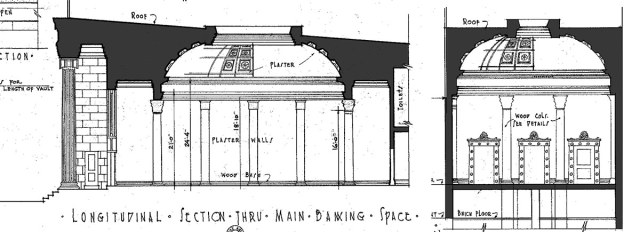 Section through the bank showing the domed lobby. (Courtesy Library of Congress)