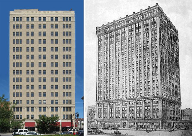 A montage of an enlarged Breslin Building and a rough rendering from the '20s. (Wikimedia Commons; Broken Sidewalk; Forgotten Louisville)