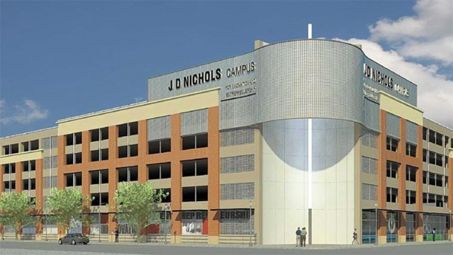 Rendering of the Nucleus parking garage now under construction. (Tucker Booker Donhoff)