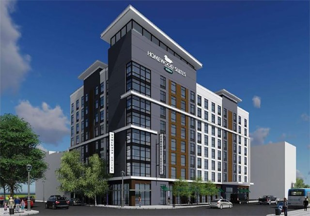 Rendering of the Homewood Suites hotel slated for Seventh and Market streets. (Courtesy Mulloy / Poe Companies)