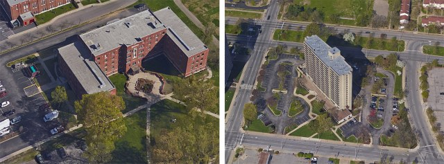 Lourdes Hall, left, and Avenue Plaza, right, are both slated for expensive parking lot repaving projects. (Courtesy Google)