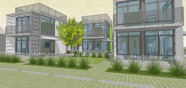 Rendering of the Schnitzelburg Container Apartments. (Foxworth Architects)