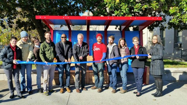 A ribbon cutting ceremony for a new bus stop in the SoBro neighborhood. (Courtesy Office of the Mayor)