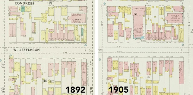 Maps showing the church site before and after construction in the 19th century. (Courtesy Kentucky Virtual Library)