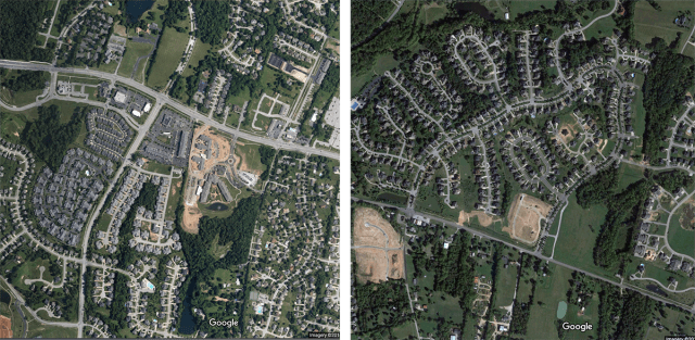 Newly built sprawl in the vicinity. (Courtesy Google)