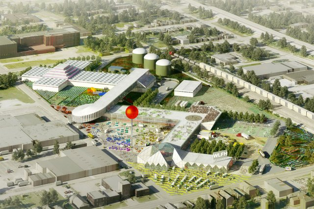 An early rendering of the West Louisville FoodPort showing proposed biodigesters on the site's southwest corner. (Courtesy OMA)