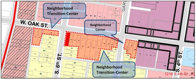 Diagram from the staff report showing the remapped portion of Oak Street.