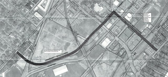 The proposed extent of University Boulevard, showing Warnock Street at right. (Courtesy UL Foundation)