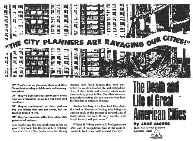 A 1961 Random House advertisement for Death & Life of Great American Cities. (pdxcityscape / Flickr)