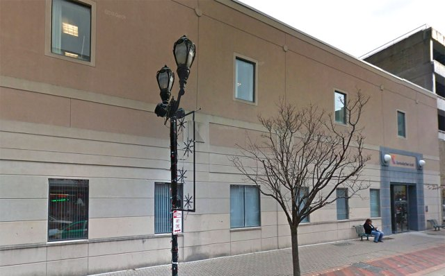 The old W.T. Grant's building remade into a generic office structure. (Via Google)