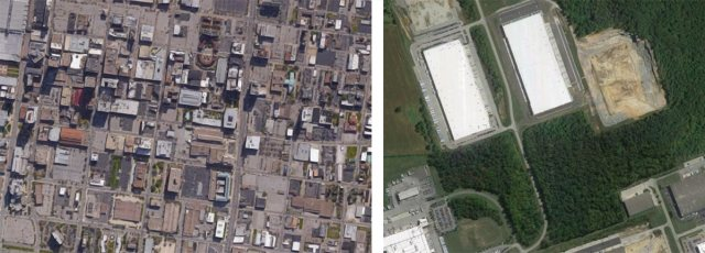 Another zoomed-in comparison showing just how big these warehouses are. (Courtesy Google)