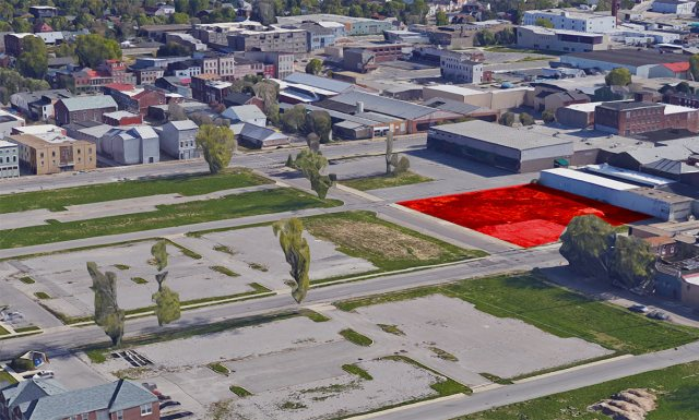 Aerial view of the vacant Liberty Green blocks with the ReSurfaced site indicated in red. (Courtesy Google)