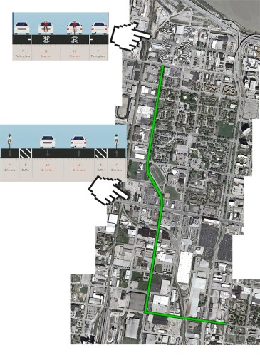 Extent and type of bike lanes. (Montage by Broken Sidewalk)