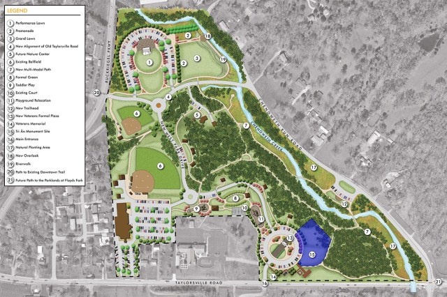 The memorial site indicated in blue on a master plan map of Veterans Memorial Park. (Courtesy Tri An Foundation)