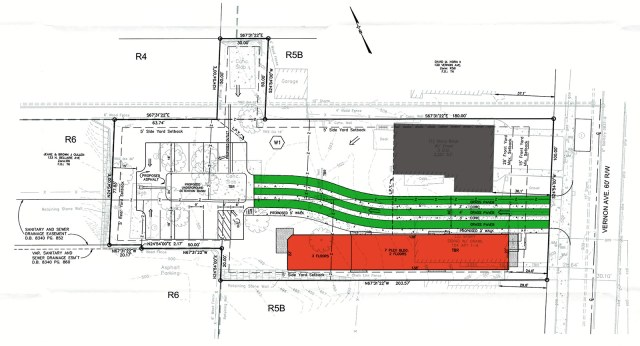 Site plan for the Conti Apartments. Grey structure is an existing double-barrel shotgun, red shows the new building, and green shows the permeable pavers along the driveway. (Courtesy Brown Conti Company / Color by Broken Sidewalk)
