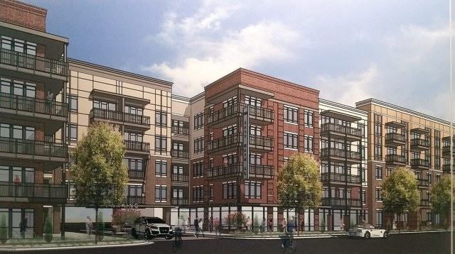 Rendering of the 700 East Main proposal presented Tuesday evening. (Flournoy Companies / Photo by Jacob Ryan, WFPL)