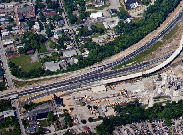 Aerial view of the area. (Courtesy Ohio River Bridges Project)