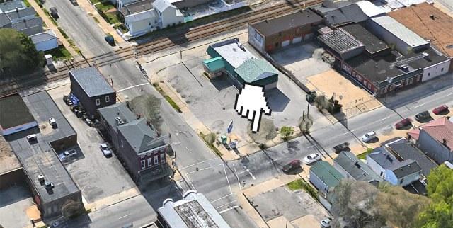The bus shelter site. (Via Google)