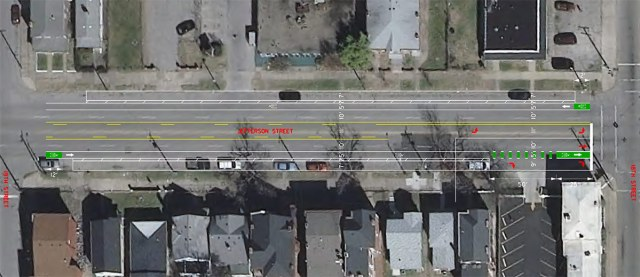 Bike lanes planned on West Jefferson Street in Russell. (Courtesy Metro Louisville)