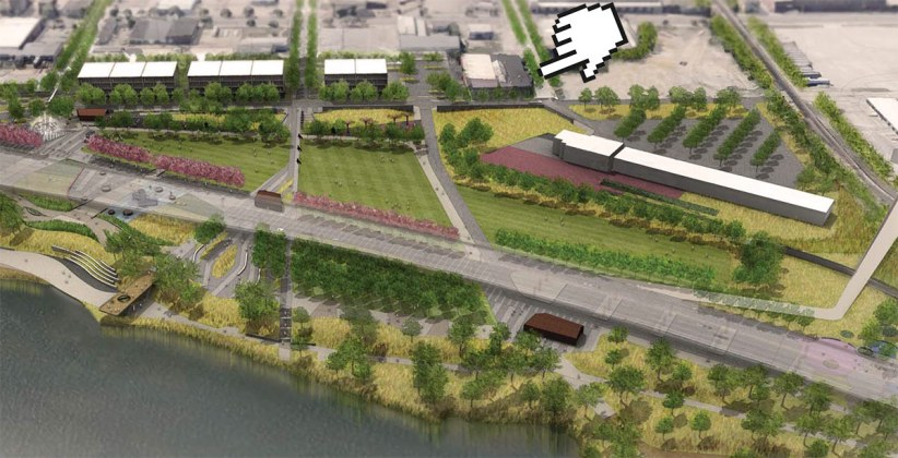 The Interapt complex in relation to the new park. (MKSK / Courtesy WDC)