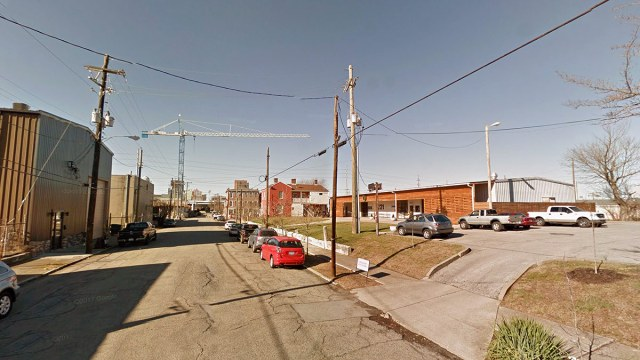 Looking west down Washington Street. Hyland Glass is on the right. (Google Street View)