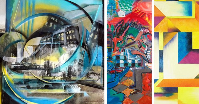 Left to right: Ashley Brossart's City; Joyce Garner's Cantaloupe; and Andrea Alonso's Inside the Box. (Courtesy Louisville Downtown Partnership)