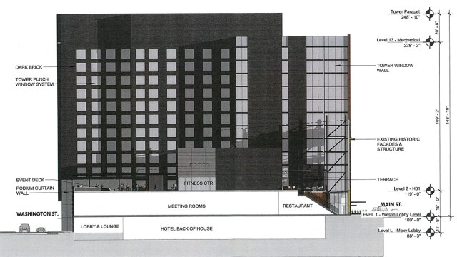 Section and elevation of the westward-facing facade, which won't be as visible from the street, shows a more plain appearance. (Courtesy HKS Hospitality)