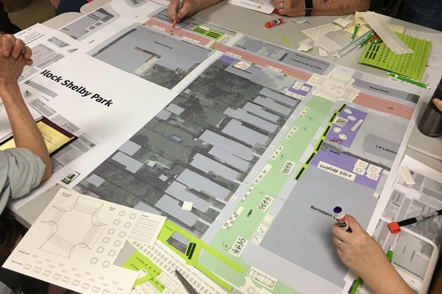 A community design workshop helped give shape to Better Block Shelby Park. (Branden Klayko / Broken Sidewalk)