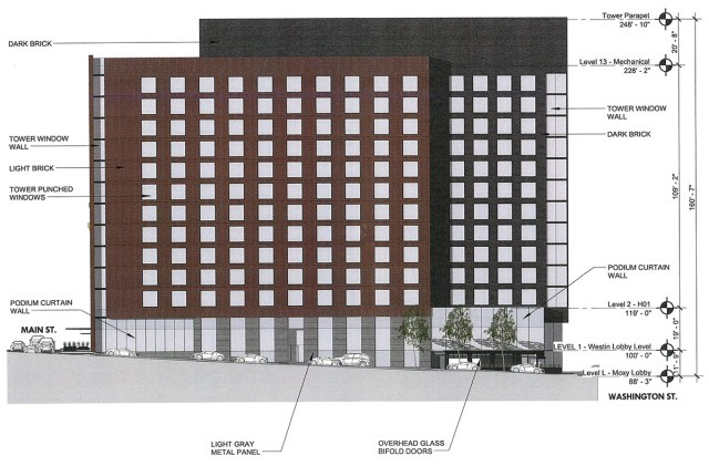 Elevation of the First Street side of the building. (Courtesy HKS Hospitality)