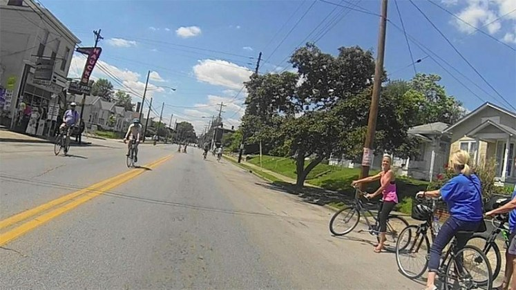 Riding down Goss Avenue past Hauck's. (Jim Williams / Twitter)