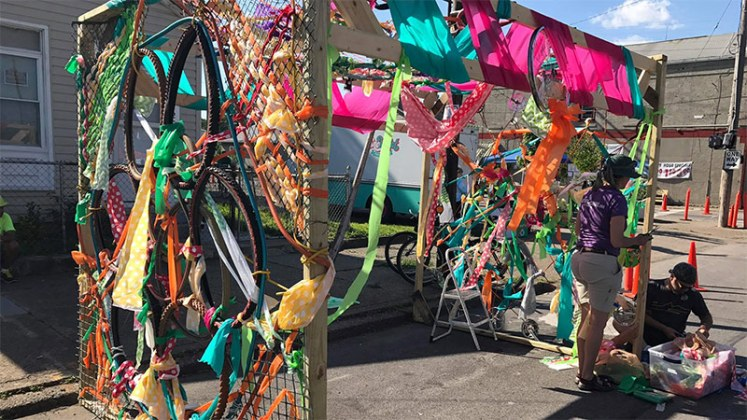 A colorful parklet partially made with bike parts. (Mary Beth Brown)