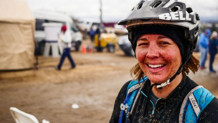 Kim enjoying the final, muddy lap