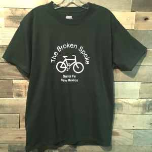 Men's Broken Spoke T Shirt Logo Front Forest Green
