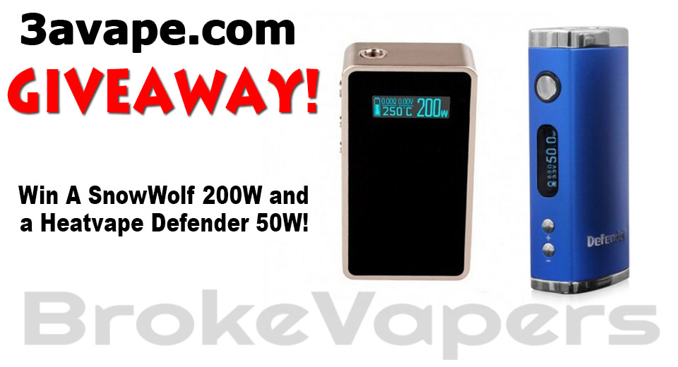 SnowWolf 200W and Heatvape Defender 50W Giveaway