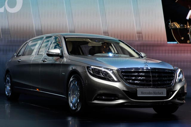 GENEVA, SWITZERLAND - MARCH 03: The new Mercedes-Maybach S 600 Pullman is shown during the 85th International Motor Show on March 3, 2015 in Geneva, Switzerland. The 85th International Motor Show held from the 5th to 15th March 2015 will showcase novelties of the car industry. (Photo by Harold Cunningham/Getty Images)